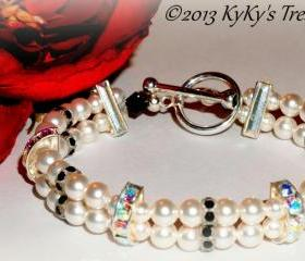 Swarovski Pearl Bridal Bracelet w/Swarovski Crystal Rondelles, Bridal Jewelry, Wedding Jewelry, Bridesmaid Jewelry, Bridal Bracelet