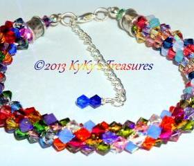 Color Burst Swarovski Crystal Braided Bracelet, Multi-Colored, Rainbow Jewelry, Rainbow Bracelet, Crystal Bracelet