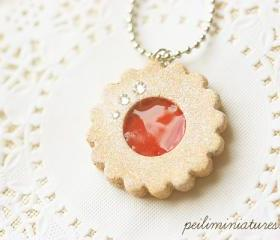 Cookie Jewelry - Cookie Necklace - Strawberry Jam Sugar Cookie Necklace