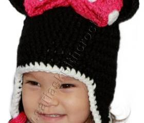 Minnie Mouse Hat for Girls With Pink Bow - Pink Bow Hat for Toddler Girls - Polka Dots