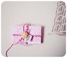 6 tiny sweet blush pink envelope / pack