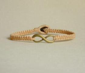 Tan Infinity - Simple Single Antique Brass Infinity Sign/Eight woven with Tan Wax Cord Bracelet / Wristband - Men Jewelry - Unisex