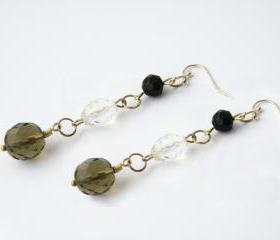 Long Dangle Hook Earrings Glass Beaded Smoky Black Clear Beads Elegant Jewelry by SteamyLab