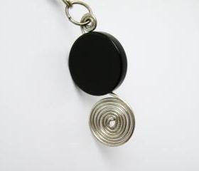 Black Round Flat Onyx Bead Pendant Necklace Birthstone Jewelry December Women Minimalist Fashion by SteamyLab