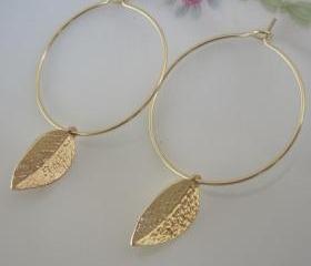 Gold Leaf Hoop Earrings Inspired by Kate Middleton