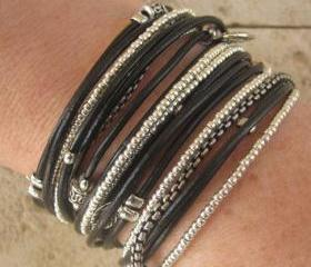 Black Leather Triple Wrap Bracelet with Silver Accents and Metallic Silver Glass Beads