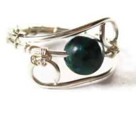 Australian Sapphire Jasper RIng in Silver, Emerald Colored Stone