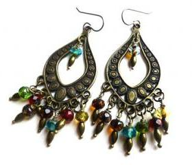 Rainbow. Bohemian earrings. Czech glass. Bronze. Boho. Chandelier earrings. dangle earrings. Jewelry. Hoops.