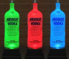 Big 1.75 Liter Absolut Vodka Color Changing LED Remote Controlled Eco Friendly rgb LED Bottle Lamp/Bar Light / Intense Sparkle-Bodacious Bottles-