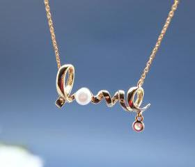 Love pendant necklace with pearl - Wire Word necklace in gold