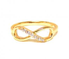 Infinity Ring-14 Kt Gold Over Sterling Silver Ring With Cubic Zirconia-Size 6