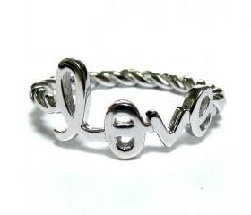 Love Ring-Script Letter LOVE Ring With Rope Band In Rhodium Over Sterling Silver-Size 7