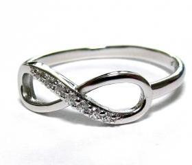 Infinity Ring-Rhodium Over Sterling Silver Ring With Cubic Zirconia Size 6