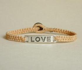 Love Tag in Tan Bracelet - Unisex - Gift for Him - Friendship Bracelet - Gift under 15