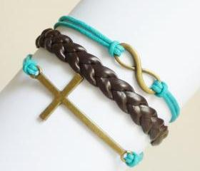 Brass Sideways cross and Infinity Black and Blue Friendship Bracelet - Gift under 15