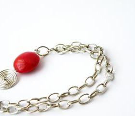 Red Glass Round Beads Pendant Necklace Beaded Jewelry Wire Wrapped Swirl Women Minimalist Fashion by SteamyLab