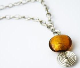 Amber Glass Round Beads Pendant Necklace Beaded Jewelry Wire Wrapped Swirl Women Minimalist Fashion by SteamyLab