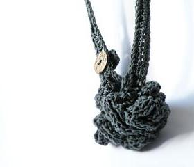 Long Crochet Necklace Antrax Grey French Eco Cotton Textile Jewelry Women Fashion Accessories by SteamyLab