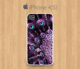 iPhone 4 Case, iPhone 4S Case White, Purple Peacock Feather Pretty Cute Girly