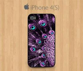 iPhone 4 Case, iPhone 4S Case Black, Purple Peacock Feather Pretty Cute Girly