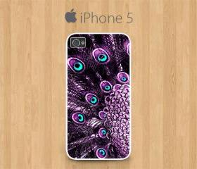 iPhone 5 Case White, Purple Peacock Feather Pretty Cute Girly