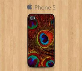 iPhone 5 Case Black, Orange Peacock Feather Pretty Cute Girly