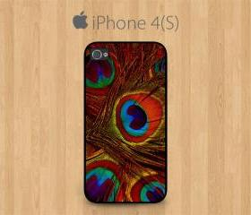 iPhone 4 Case, iPhone 4S Case Black, Orange Peacock Feather Pretty Cute Girly