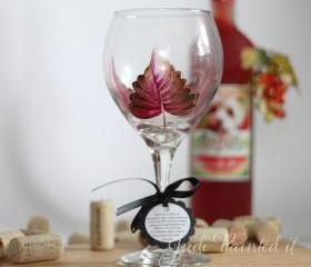 Red leaf with gold trim painted wine glass - Dishwasher safe