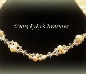 Swarovski Pearl & Crystal Two Strand Bridal Necklace , Bridal Jewelry, Wedding Jewelry, Bridesmaid Jewelry, Bridal Necklace
