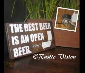 Wood Sign with Beer Bottle Opener
