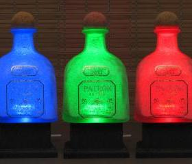 Big 1.75 Liter Patron XO Tequila Color Changing LED Remote Controlled Eco Friendly rgb LED Bottle Lamp/Bar Light / Intense Sparkle-Bodacious Bottles-