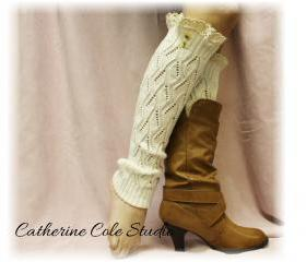 Lace leg warmers CREAM cluny lace 2 tortoise buttons womens open knit pattern great with all boots by Catherine Cole Studio