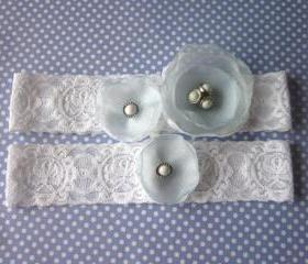 Bridal Garter Set (including toss garter) - Simply Flowers - White & LIght Blue