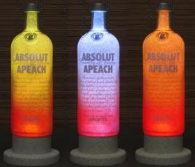 Absolut Peach Vodka Color Changing LED Remote Controlled Eco Friendly rgb LED Bottle Lamp/Bar Light / Intense Sparkle-Bodacious Bottles-