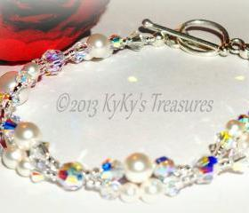 Swarovski Pearl & Crystal Two Strand Bridal Bracelet , Bridal Jewelry, Wedding Jewelry, Bridesmaid Jewelry, Bridal Bracelet, Bridesmaid