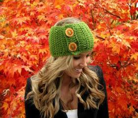 Juicy Green Apple Head Wrap With Reclaimed Wood Buttons
