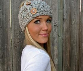 Lamb's Wool Collection - Multi Ways to Wear - Plush Wool Wrap/Neckwarmer In Grey Marble w/Handmade Reclaimed Wood Buttons-Adjustable Unisex