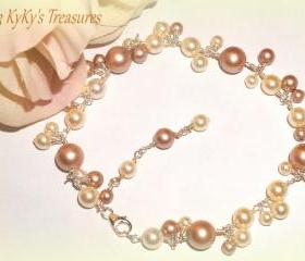 Sterling Silver Swarovski Pearl, Bridal Bracelet, Swarovski Pearl Bracelet, Bridal Jewelry, Bangle Bracelet, Bridesmaid Jewelry, Wedding