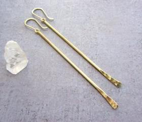 Gold brass long dangle bar earrings with gold filled earwires.