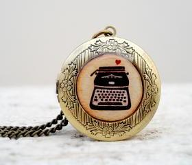 Vintage Style Resin Locket Necklace with Vintage Typewriter in Brown Beige with small Heart
