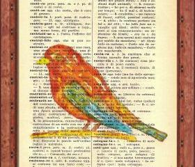ORIGINAL Print of a my painting on a page original of Italian dictionary of 1938