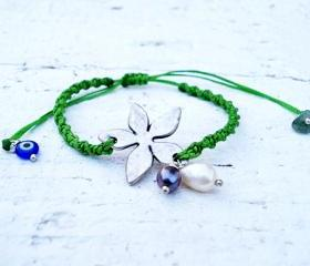 Silver Flower Bracelet or Anklet, Friendship Bracelet. Cute Gift.
