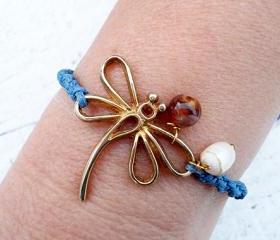 Gold Dragonfly Bracelet or Anklet, Friendship Bracelet. Cute Gift.