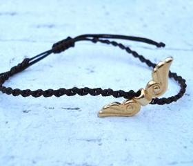Gold Angel Wings Bracelet or Anklet, Friendship Bracelet. Cute Gift.