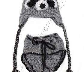 Raccoon Hat ( Set) Gray Hat Newborn Boys Raccoon Hat with matching Diaper for Newborn Boys- Baby Boys Racoon Hats- Photo Prop