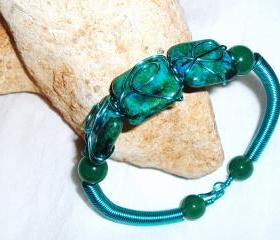 Green Chrysocolla and Turquoise Wire Coil Bracelet Handmade Jewelry gift idea