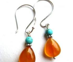 Orange agate, turquiose gemstone small dangle earrings. Sterling silver Bali silver. Silver earrings. Stone earrings. Jewelry