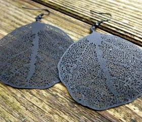 Black leaf earrings & black ear wire. black filigree hoop, filigree leaf, black earrings. Hoops. Woodland. Boho. Bohemian.