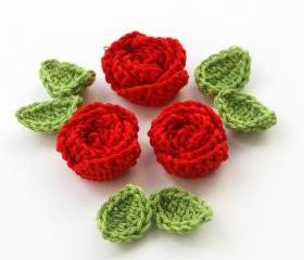 Red crochet roses
