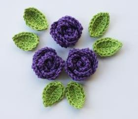 Purple crochet roses